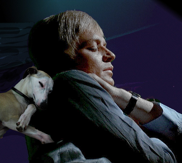 Ed Straker and his whippet puppy Calan